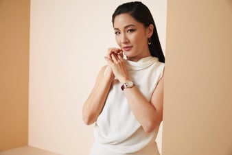 Constance Wu sparkling with luxury jewellery and a rose gold diamond watch