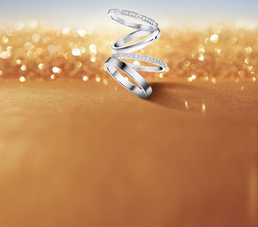 Possession platinum and white gold wedding rings