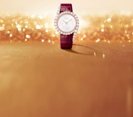 Limelight Gala rose gold diamond watch with a mother-of-pearl dial