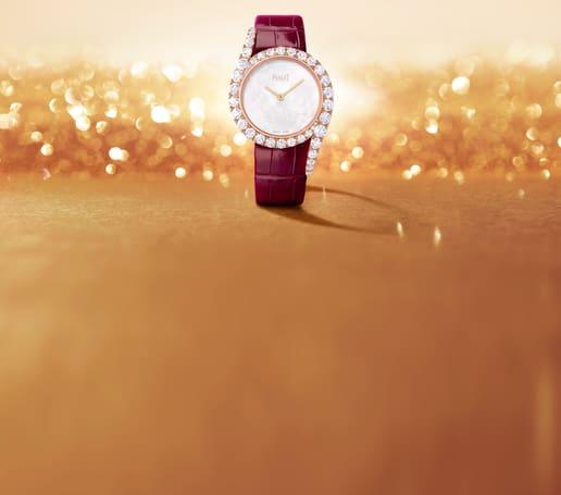 ساعة لايملايت غالا من الذهب الوردي والماس بميناء من عرق اللؤلؤ