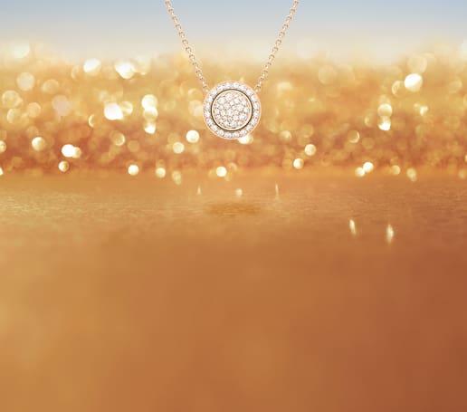 女士玫瑰金鑽石項鏈