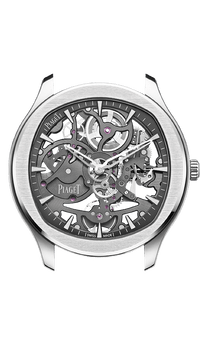 Steel luxury watch with gray skeleton movement